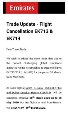 Emirates Airlines trade update
