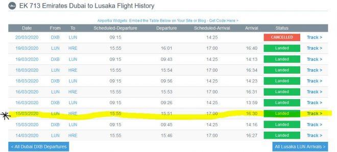 Flight EK713 Flight History (note the highlighted part