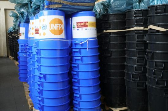 Some of the Water Buckets that have been procured by the UNFPA towards the COVID-19