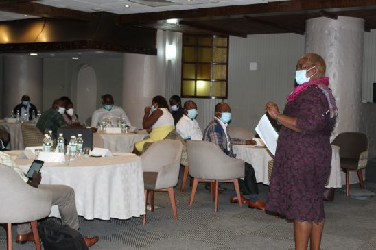 WAG Executive Director Mrs Edinah Masiyiwa addresses the Zim Nurses Association at the sensitisation meeting