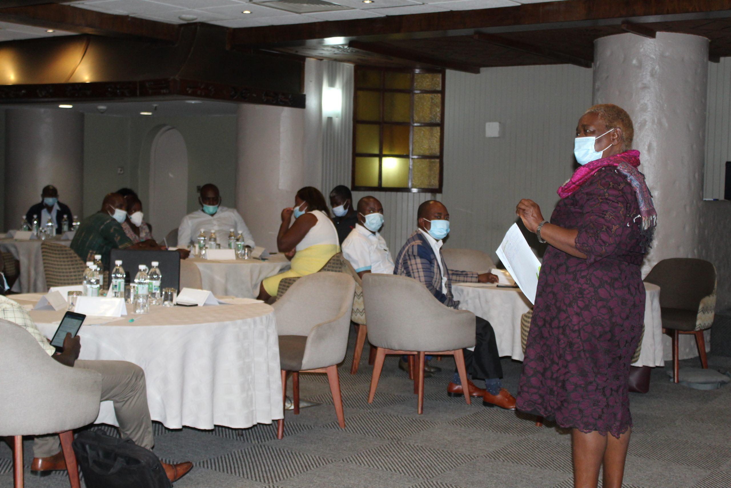WAG Executive Director Mrs Edinah Masiyiwa addresses the Zim Nurses Association at the sensitisation meeting